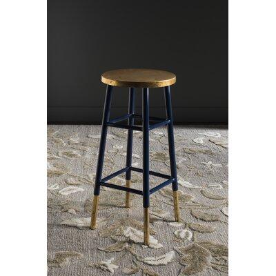 Mizar 30 Bar Stool Upholstery: Navy / Gold