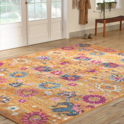 Parsons Yellow Indoor Area Rug Rug Size: Rectangle 53 x 73