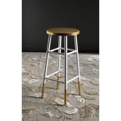 Mizar 30 Bar Stool Upholstery: White / Gold