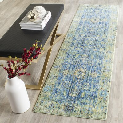 Doline Blue/Yellow Area Rug Rug Size: Runner 23 x 8