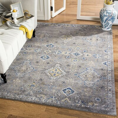 Minonk Dark Gray/Yellow Area Rug Rug Size: Rectangle 51 x 76