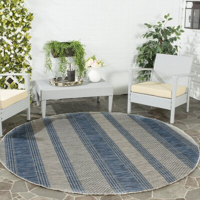 McCall Gray/Navy Indoor/Outdoor Area Rug Rug Size: Round 67