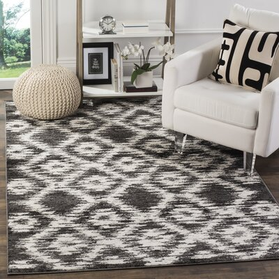 Schacher Charcoal/Ivory Area Rug Rug Size: Rectangle 51 x 76