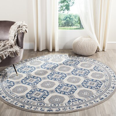 Nielsen Gray/Blue Area Rug Rug Size: Round 67