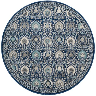 Aegean Blue/Ivory Area Rug Rug Size: Round 67