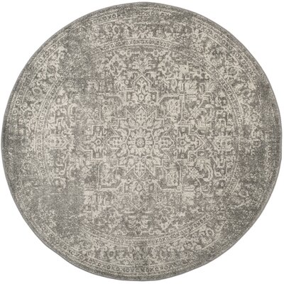Chaudiere Silver/Ivory Area Rug Rug Size: Round 3