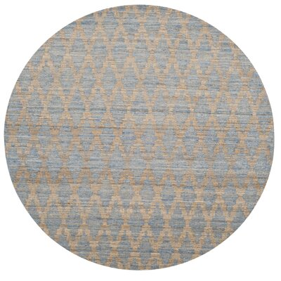 Montserrat Meigs Hand-Woven Light Blue/Gold Area Rug Rug Size: Round 6