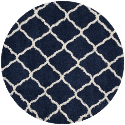 Buford Navy/Ivory Area Rug Rug Size: Round 7