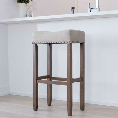 Firth Wood Kitchen Pub-Height Bar Stool Color: Dark Sand