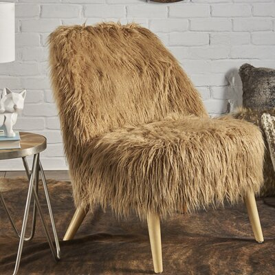 Buterbaugh Fur Accent Side Chair Upholstery: Taupe, Color: Beige
