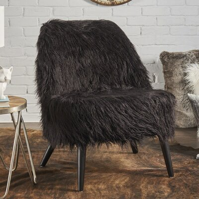 Buterbaugh Fur Accent Side Chair Upholstery: Black, Finish: Black