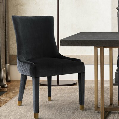 Velvet Upholstered Dining Chair Upholstery: Gray