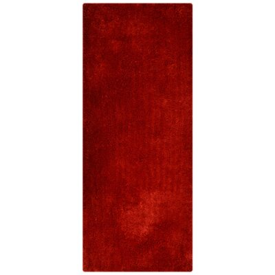 Henricks Hand Tufted Red Area Rug Rug Size: Runner 26 x 8