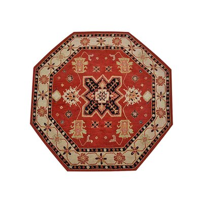 Hassen Hand-Tufted Wool Red/Cream Area Rug