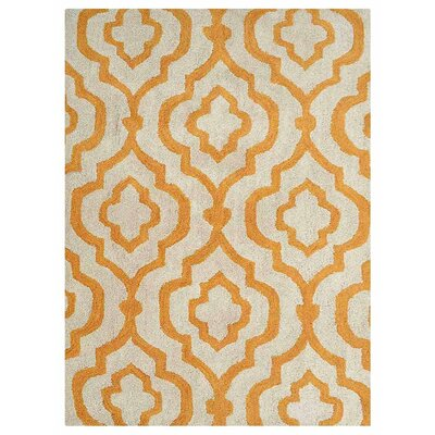 Ketron Hand-Tufted Wool White/Gold Area Rug Rug Size: Rectangle 4 x 6