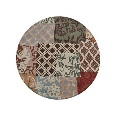 Crider Hand-Tufted Wool Brown/Green Area Rug Rug Size: Round 5