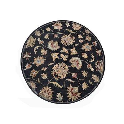 Creamer Hand-Tufted Black Area Rug Rug Size: Round 8
