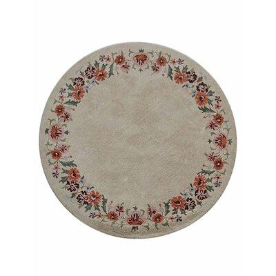 Creamer Hand-Tufted Cream Area Rug Rug Size: Round 8