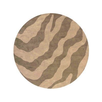 Hetzel Hand-Tufted Wool/Cotton Beige/Brown Area Rug Rug Size: Round 8
