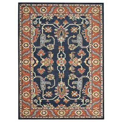 Creamer Hand-Tufted Charcoal/Rust Area Rug Rug Size: Rectangle 5 x 8