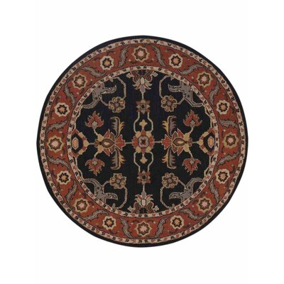 Creamer Hand-Tufted Charcoal/Rust Area Rug Rug Size: Round 6