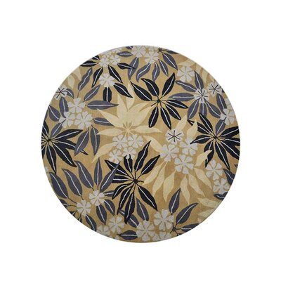 Campas Hand-Tufted Gold Area Rug Rug Size: Round 8