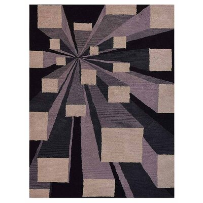 Hultgren Hand-Tufted Beige/Black Area Rug Rug Size: Rectangle 9 x 12