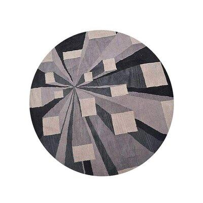 Hultgren Hand-Tufted Beige/Black Area Rug Rug Size: Round 8