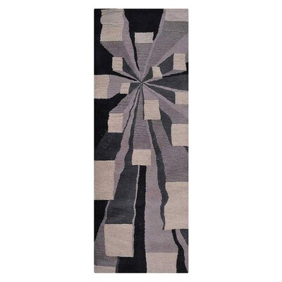 Hultgren Hand-Tufted Beige/Black Area Rug Rug Size: Runner 26 x 8