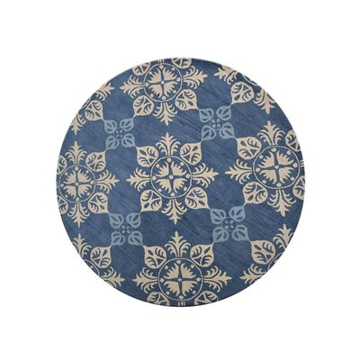 Creamer Hand-Tufted Blue Area Rug Rug Size: Round 8