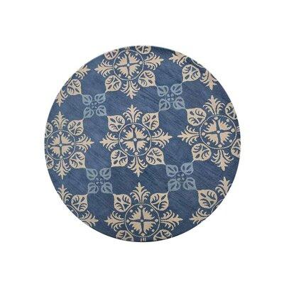 Creamer Hand-Tufted Blue Area Rug Rug Size: Round 8
