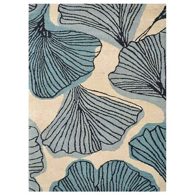 Chon Hand-Tufted Cream/Blue Area Rug Rug Size: Rectangle 5 x 8