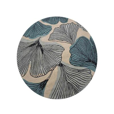Chon Hand-Tufted Cream/Blue Area Rug Rug Size: Round 8