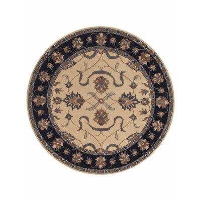 Creamer Hand-Tufted  Ivory/Black Area Rug Rug Size: Round 6
