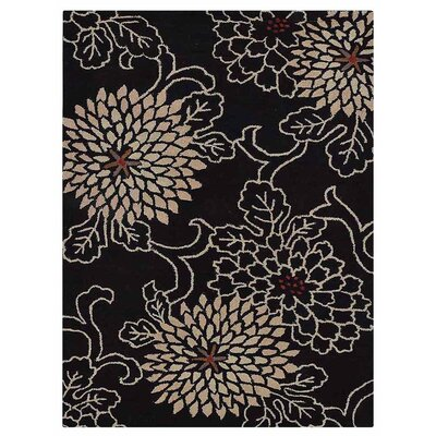 Campas Hand-Tufted Black Area Rug Rug Size: Rectangle 9 x 12