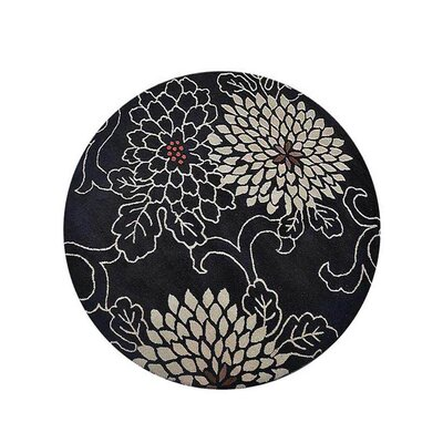 Campas Hand-Tufted Black Area Rug Rug Size: Round 8