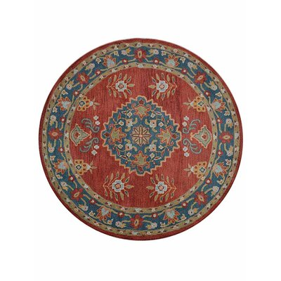 Hetzel Hand-Tufted Wool/Cotton Red/Blue Area Rug