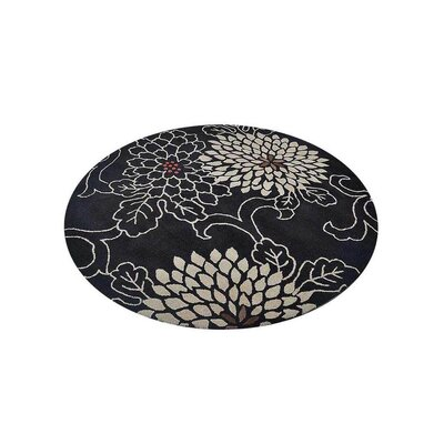 Campas Hand-Tufted Black Area Rug Rug Size: Round 10