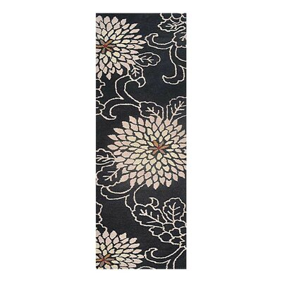 Campas Hand-Tufted Black Area Rug Rug Size: Runner 26 x 10