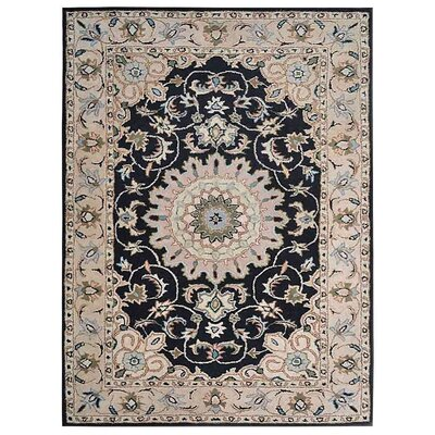 Creamer Hand-Tufted  Black/Beige Area Rug Rug Size: Rectangle 5 x 8