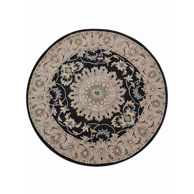 Creamer Hand-Tufted  Black/Beige Area Rug Rug Size: Round 8