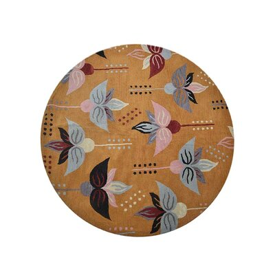 Johansson Hand-Tufted Gold Area Rug Rug Size: Round 8