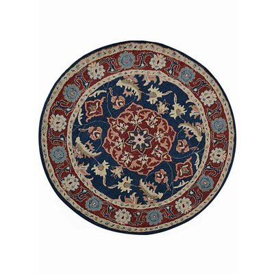 Creamer Hand-Tufted Blue/Red Area Rug 4A0C58956675460B9EB8CD647DCF426E