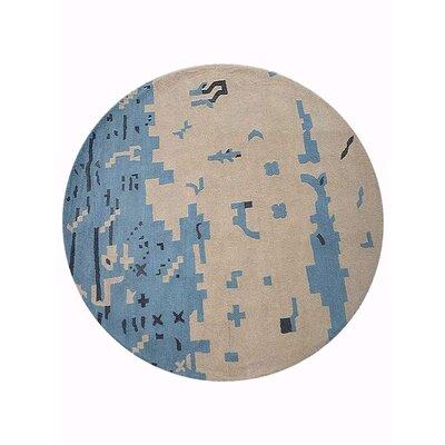 Johansson Hand-Tufted Beige/Blue Area Rug Rug Size: Round 8