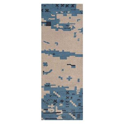 Johansson Hand-Tufted Beige/Blue Area Rug Rug Size: Runner 26 x 8