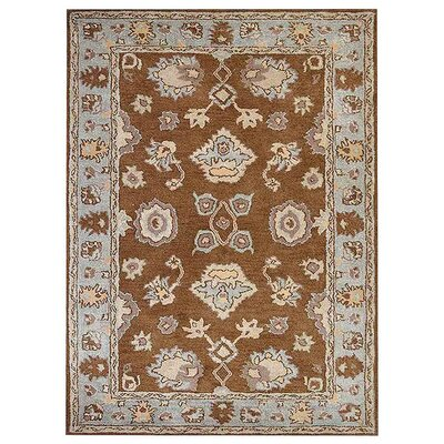 Creamer Hand-Tufted Brown/Light Blue Area Rug Rug Size: Rectangle 5 x 8