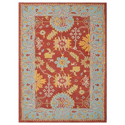 Hetzel Hand-Tufted Wool/Cotton Red/Blue Area Rug 6350C2BAB70E462BA30A6C8418B0C8BD