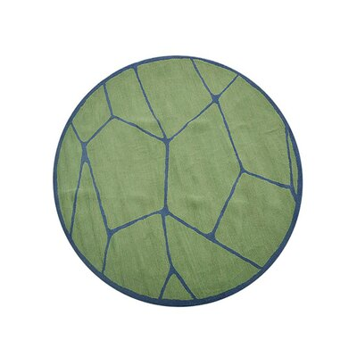 Freida Hand-Tufted Green/Blue Area Rug Rug Size: Round 8