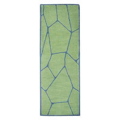Freida Hand-Tufted Green/Blue Area Rug Rug Size: Runner 26 x 8