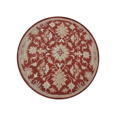 Creamer Hand-Tufted Red Area Rug Rug Size: Round 8